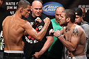 EAST RUTHERFORD, NJ - MAY 04:  (L-R) Main event opponents Nate Diaz and Jim Miller face off aftering weighing in during the UFC on FOX official weigh in at Izod Center on May 4, 2012 in East Rutherford, New Jersey.  (Photo by Josh Hedges/Zuffa LLC/Zuffa LLC via Getty Images)