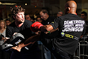 SUNRISE, FL - JUNE 06:   Demetrious Johnson works out for fans and media during the UFC open workouts at Sawgrass Mills Mall on June 6, 2012 in Sunrise, Florida.  (Photo by Josh Hedges/Zuffa LLC/Zuffa LLC via Getty Images)