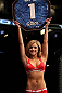 SUNRISE, FL - JUNE 08:   UFC Octagon Girl Brittney Palmer introduces round one before the Pague v Papazian bout during the UFC on FX 3 event at Bank Atlantic Center on June 8, 2012 in Sunrise, Florida.  (Photo by Josh Hedges/Zuffa LLC/Zuffa LLC via Getty Images)