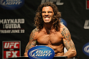 ATLANTIC CITY, NJ - JUNE 21:  Clay Guida flexes after making weight for his fight against Gray Maynard during the UFC on FX official weigh in at Revel Casino on June 21, 2012 in Atlantic City, New Jersey.   (Photo by Nick Laham/Zuffa LLC/Zuffa LLC via Getty Images)
