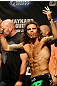 ATLANTIC CITY, NJ - JUNE 21:  Clay Guida appeals to the crowd after making weight during the UFC on FX official weigh in at Revel Casino on June 21, 2012 in Atlantic City, New Jersey.   (Photo by Nick Laham/Zuffa LLC/Zuffa LLC via Getty Images)