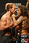 ATLANTIC CITY, NJ - JUNE 21: (L-R) Lightweight opponents Gray Maynard and Clay Guida face off after making weight for his fight against Gray Maynard during the UFC on FX official weigh in at Revel Casino on June 21, 2012 in Atlantic City, New Jersey.   (Photo by Nick Laham/Zuffa LLC/Zuffa LLC via Getty Images)