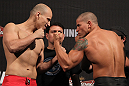 BELO HORIZONTE, BRAZIL - JUNE 22:   (L-R) Opponents Thiago Perpetuo and Leonardo Mafra face off after making weight during the UFC 147 weigh in at Estádio Jornalista Felipe Drummond on June 22, 2012 in Belo Horizonte, Brazil.  (Photo by Josh Hedges/Zuffa LLC/Zuffa LLC via Getty Images)