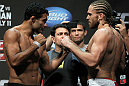 SAN JOSE, CA - JULY 10:   (L-R) Opponents Rafael Natal and Andrew Craig face off during the UFC on Fuel TV weigh in at HP Pavilion on July 10, 2012 in San Jose, California.  (Photo by Josh Hedges/Zuffa LLC/Zuffa LLC via Getty Images)