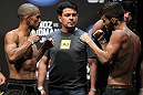 SAN JOSE, CA - JULY 10:   (L-R) Opponents Chris Cariaso and Josh Ferguson face off during the UFC on Fuel TV weigh in at HP Pavilion on July 10, 2012 in San Jose, California.  (Photo by Josh Hedges/Zuffa LLC/Zuffa LLC via Getty Images)