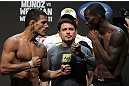 SAN JOSE, CA - JULY 10:   (L-R) Opponents Rafael Dos Anjos and Anthony Njokuani face off during the UFC on Fuel TV weigh in at HP Pavilion on July 10, 2012 in San Jose, California.  (Photo by Josh Hedges/Zuffa LLC/Zuffa LLC via Getty Images)