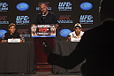CALGARY, CANADA - JULY 19: (L-R) Urijah Faber, UFC President Dana White and Renan Barao field questions from the media at the UFC 149 press conference at the Flames Central Sports Club on July 19, 2012 in Calgary, Alberta, Canada. (Photo by Jeff Bottari/Zuffa LLC/Zuffa LLC via Getty Images)
