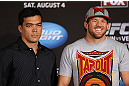 LOS ANGELES - AUGUST 02: (L-R) Opponents Lyoto Machida and Ryan Bader pose for photos during the UFC on FOX press conference at the J.W. Marriott on August 2, 2012 in Los Angeles, California. (Photo by Josh Hedges/Zuffa LLC/Zuffa LLC via Getty Images)