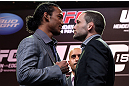 DENVER, CO - AUGUST 09:  (L-R) Opponents Benson Henderson and Frankie Edgar face off during the UFC 150 press conference at the Fillmore Auditorium on August 9, 2012 in Denver, Colorado. (Photo by Josh Hedges/Zuffa LLC/Zuffa LLC via Getty Images)