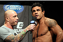 TORONTO, CANADA - SEPTEMBER 21: (R-L) Vitor Belfort is interviewed by Joe Rogan during the UFC 152 weigh in at Mattamy Athletic Centre at the Gardens on September 21, 2012 in Toronto, Ontario, Canada. (Photo by Mike Roach/Zuffa LLC/Zuffa LLC via Getty Images)