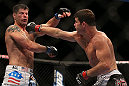 TORONTO, CANADA - SEPTEMBER 22: (R-L) Michael Bisping punches Brian Stann during their middleweight bout at UFC 152 inside Air Canada Centre on September 22, 2012 in Toronto, Ontario, Canada. (Photo by Josh Hedges/Zuffa LLC/Zuffa LLC via Getty Images)