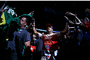 TORONTO, CANADA - SEPTEMBER 22: Vitor Belfort enters the arena before his light heavyweight championship bout against Jon Jones at UFC 152 inside Air Canada Centre on September 22, 2012 in Toronto, Ontario, Canada. (Photo by Al Bello/Zuffa LLC/Zuffa LLC via Getty Images)
