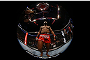 Jon Jones stands inside the Octagon during his light heavyweight championship bout against Vitor Belfort at UFC 152 inside Air Canada Centre on September 22, 2012 in Toronto, Ontario, Canada. (Photo by Al Bello/Zuffa LLC/Zuffa LLC via Getty Images)