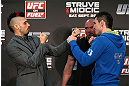 NOTTINGHAM, ENGLAND - SEPTEMBER 27:  (L-R) Opponents Dan Hardy and Amir Sadollah face off during a UFC press conference at the Hilton Hotel on September 27, 2012 in Nottingham, England.  (Photo by Josh Hedges/Zuffa LLC/Zuffa LLC via Getty Images)
