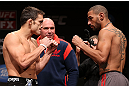 MINNEAPOLIS, MN - OCTOBER 04:  (L-R) Opponents Jake Ellenberger and Jay Hieron face off during the UFC on FX weigh in at Pantages Theater on October 4, 2012 in Minneapolis, Minnesota.  (Photo by Josh Hedges/Zuffa LLC/Zuffa LLC via Getty Images)
