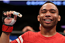 MINNEAPOLIS, MN - OCTOBER 05:  John Dodson reacts after knocking out Jussier Formiga during their flyweight fight at the UFC on FX event at Target Center on October 5, 2012 in Minneapolis, Minnesota.  (Photo by Josh Hedges/Zuffa LLC/Zuffa LLC via Getty Images)