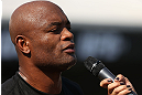 RIO DE JANEIRO, BRAZIL - OCTOBER 10:  Anderson Silva addresses the fans after an open training session ahead of UFC 153 at Arcos da Lapa: Praca Cardeal Camara on October 10, 2012 in Rio de Janeiro, Brazil.  (Photo by Josh Hedges/Zuffa LLC/Zuffa LLC via Getty Images)