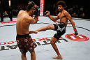 MACAU, MACAU - NOVEMBER 10: (R-L) Alex Caceres kicks Motonobu Tezuka during their bantamweight bout at the UFC Macao event inside CotaiArena on November 10, 2012 in Macau, Macau. (Photo by Josh Hedges/Zuffa LLC/Zuffa LLC via Getty Images)