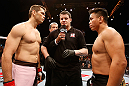 MACAU, MACAU - NOVEMBER 10: Opponents Rich Franklin (L) and Cung Le (R) receive final instructions from the referee before their middleweight bout at the UFC Macao event inside CotaiArena on November 10, 2012 in Macau, Macau. (Photo by Josh Hedges/Zuffa LLC/Zuffa LLC via Getty Images)