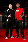 MONTREAL, CANADA - NOVEMBER 15:  (L-R) Teammates Georges St-Pierre and Francis Carmont pose for photos during an open training session ahead of UFC 154 at New City Gas on November 15, 2012 in Montreal, Quebec, Canada.  (Photo by Josh Hedges/Zuffa LLC/Zuffa LLC via Getty Images)
