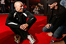 MONTREAL, CANADA - NOVEMBER 15:  Georges St-Pierre sits in the Octagon during an open training session ahead of UFC 154 at New City Gas on November 15, 2012 in Montreal, Quebec, Canada.  (Photo by Josh Hedges/Zuffa LLC/Zuffa LLC via Getty Images)