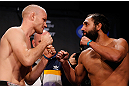 MONTREAL, CANADA - NOVEMBER 16: (L-R) Opponents Martin Kampmann and Johny Hendricks face off during the official UFC 154 weigh in at New City Gas on November 16, 2012 in Montreal, Quebec, Canada. (Photo by Josh Hedges/Zuffa LLC/Zuffa LLC via Getty Images)