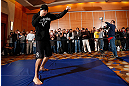 SEATTLE, WA - DECEMBER 05:  Nate Diaz works out for fans and media during the UFC on FOX open workouts on December 5, 2012  at the Grand Hyatt Seattle in Seattle, Washington.  (Photo by Josh Hedges/Zuffa LLC/Zuffa LLC via Getty Images)
