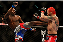 LAS VEGAS, NV - DECEMBER 29:  (L-R) Derek Brunson kicks Chris Leben during their middleweight fight at UFC 155 on December 29, 2012 at MGM Grand Garden Arena in Las Vegas, Nevada. (Photo by Josh Hedges/Zuffa LLC/Zuffa LLC via Getty Images) *** Local Caption *** Chris Leben; Derek Brunson
