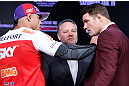 SAO PAULO, BRAZIL - JANUARY 17:  Opponents Vitor Belfort (L) and Michael Bisping (R) face off during a UFC press conference on January 17, 2013 at the Hilton Hotel in Sao Paulo, Brazil. (Photo by Josh Hedges/Zuffa LLC/Zuffa LLC via Getty Images)