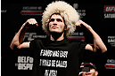 SAO PAULO, BRAZIL - JANUARY 18:  Khabib Nurmagomedov weighs in during the UFC on FX official weigh-in event on January 18, 2013 at Ibirapuera Gymnasium in Sao Paulo, Brazil. (Photo by Josh Hedges/Zuffa LLC/Zuffa LLC via Getty Images)