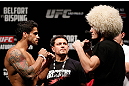 SAO PAULO, BRAZIL - JANUARY 18:  (L-R) Opponents Thiago Tavares and Khabib Nurmagomedov face off during the UFC on FX official weigh-in event on January 18, 2013 at Ibirapuera Gymnasium in Sao Paulo, Brazil. (Photo by Josh Hedges/Zuffa LLC/Zuffa LLC via Getty Images)