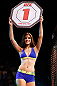 SAO PAULO, BRAZIL - JANUARY 19:  UFC Octagon Girl Aline Caroline Franzoi introduces a round during the UFC on FX event on January 19, 2013 at Ibirapuera Gymnasium in Sao Paulo, Brazil. (Photo by Josh Hedges/Zuffa LLC/Zuffa LLC via Getty Images)