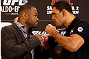 LAS VEGAS, NV - JANUARY 31:  (L-R) Opponents Rashad Evans and Antonio Rogerio Nogueira face off during the UFC 156 Ultimate Media Day on January 31, 2013 at the Mandalay Bay in Las Vegas, Nevada.  (Photo by Josh Hedges/Zuffa LLC/Zuffa LLC via Getty Images)