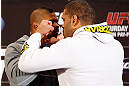 LAS VEGAS, NV - JANUARY 31:  (L-R) Opponents Alistair Overeem and Antonio