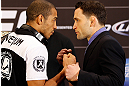 LAS VEGAS, NV - JANUARY 31:  (L-R) Opponents Jose Aldo and Frankie Edgar face off during the UFC 156 Ultimate Media Day on January 31, 2013 at the Mandalay Bay in Las Vegas, Nevada.  (Photo by Josh Hedges/Zuffa LLC/Zuffa LLC via Getty Images)