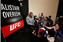 LAS VEGAS, NV - JANUARY 31:  Alistair Overeem interacts with media during the UFC 156 Ultimate Media Day on January 31, 2013 at the Mandalay Bay in Las Vegas, Nevada.  (Photo by Josh Hedges/Zuffa LLC/Zuffa LLC via Getty Images)