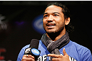 LAS VEGAS, NV - FEBRUARY 01:  UFC lightweight champion Benson Henderson interacts with fans during a Q&A session before the UFC 156 weigh-in on February 1, 2013 at Mandalay Bay Events Center in Las Vegas, Nevada.  (Photo by Josh Hedges/Zuffa LLC/Zuffa LLC via Getty Images)