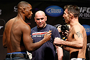 LAS VEGAS, NV - FEBRUARY 01:  (L-R) Opponents Yves Edwards and Isaac Vallie-Flag face off during the UFC 156 weigh-in on February 1, 2013 at Mandalay Bay Events Center in Las Vegas, Nevada.  (Photo by Josh Hedges/Zuffa LLC/Zuffa LLC via Getty Images)