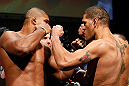 LAS VEGAS, NV - FEBRUARY 01:  (L-R) Opponents Alistair Overeem and Antonio