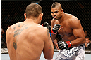 LAS VEGAS, NV - FEBRUARY 02:  Alistair Overeem (right) and Antonio Silva (left) face off during their heavyweight fight at UFC 156 on February 2, 2013 at the Mandalay Bay Events Center in Las Vegas, Nevada.  (Photo by Josh Hedges/Zuffa LLC/Zuffa LLC via Getty Images) *** Local Caption *** Alistair Overeem; Antonio Silva