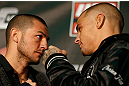 LONDON, ENGLAND - FEBRUARY 13:  (L-R) Opponents Cub Swanson and Dustin Poirier face off during a UFC press conference on February 13, 2013 at Hooks Gym in London, England.  (Photo by Josh Hedges/Zuffa LLC/Zuffa LLC via Getty Images)