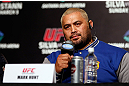 TOKYO, JAPAN - FEBRUARY 28: Mark Hunt interacts with media during a UFC press conference at the Hilton Sjinjuku Hotel on February 28, 2013 in Tokyo, Japan. (Photo by Josh Hedges/Zuffa LLC/Zuffa LLC via Getty Images)