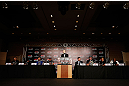 TOKYO, JAPAN - FEBRUARY 28: A general view of the fighters on the dais during a UFC press conference at the Hilton Sjinjuku Hotel on February 28, 2013 in Tokyo, Japan. (Photo by Josh Hedges/Zuffa LLC/Zuffa LLC via Getty Images)