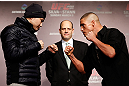 TOKYO, JAPAN - FEBRUARY 28: (L-R) Opponents Takanori Gomi and Diego Sanchez face off during a UFC press conference at the Hilton Sjinjuku Hotel on February 28, 2013 in Tokyo, Japan. (Photo by Josh Hedges/Zuffa LLC/Zuffa LLC via Getty Images)