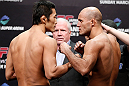 SAITAMA, JAPAN - MARCH 02: (L-R) Opponents Dong Hyun Kim and Siyar Bahadurzada face off during the UFC on FUEL TV weigh-in at Saitama Super Arena on March 2, 2013 in Saitama, Japan. (Photo by Josh Hedges/Zuffa LLC/Zuffa LLC via Getty Images)