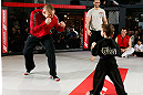 MONTREAL, QC - MARCH 13:  UFC welterweight champion Georges St-Pierre (L) spars with students of the Sunfuki Karate school during the UFC 158 open workouts at Complexe Desjardins on March 13, 2013 in Montreal, Quebec, Canada.  (Photo by Josh Hedges/Zuffa LLC/Zuffa LLC via Getty Images)