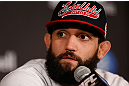 MONTREAL, QC - MARCH 14:  Johny Hendricks interacts with media during the final press conference ahead of his UFC 158 bout at Bell Centre on March 14, 2013 in Montreal, Quebec, Canada.  (Photo by Josh Hedges/Zuffa LLC/Zuffa LLC via Getty Images)