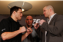 MONTREAL, QC - MARCH 14:  (L-R) Opponents Jake Ellenberger and Nate Marquardt face off during the final press conference ahead of his UFC 158 bout at Bell Centre on March 14, 2013 in Montreal, Quebec, Canada.  (Photo by Josh Hedges/Zuffa LLC/Zuffa LLC via Getty Images)