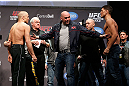 MONTREAL, QC - MARCH 15: Dana White pulls Georges St-Pierre (L) and Nick Diaz (R) apart during the UFC 158 weigh-in at Bell Centre on March 15, 2013 in Montreal, Quebec, Canada.  (Photo by Josh Hedges/Zuffa LLC/Zuffa LLC via Getty Images)