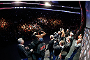 MONTREAL, QC - MARCH 15:  (R-L) Opponents Georges St-Pierre and Nick Diaz pose for the fans during the UFC 158 weigh-in at Bell Centre on March 15, 2013 in Montreal, Quebec, Canada.  (Photo by Josh Hedges/Zuffa LLC/Zuffa LLC via Getty Images)